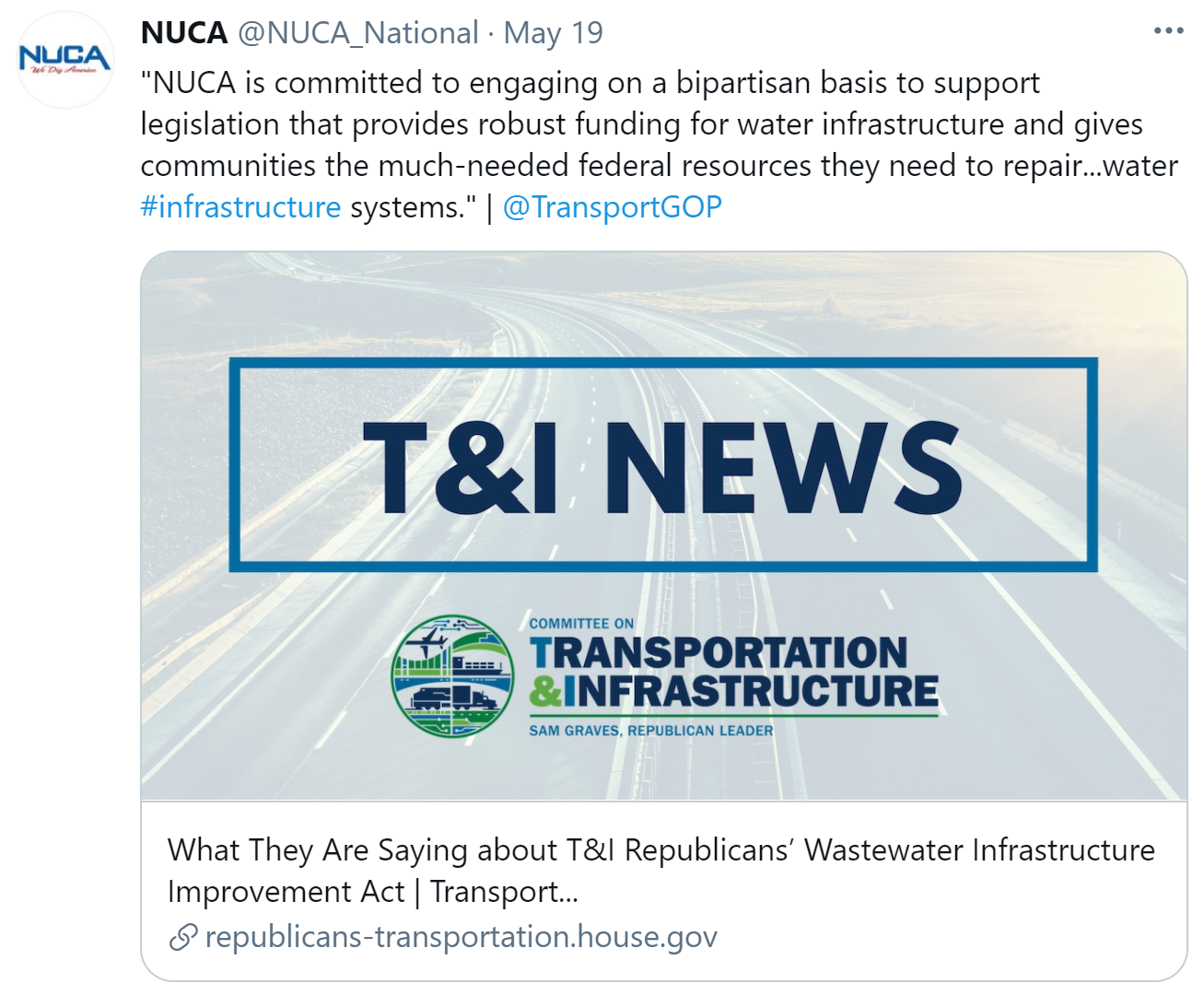 NUCA Supports Clean Water Bill