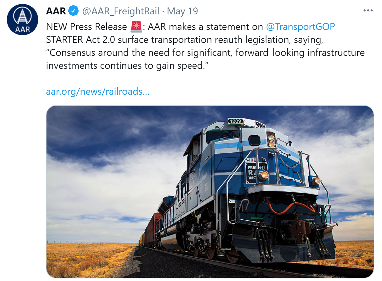 AAR Supports STARTER Act 2.0